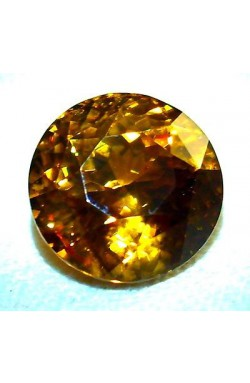 CERTIFIED TOP QUALITY 14.83 CTS ROUND YELLOWISH ORANGE UNHEATED NATURAL ZIRCON!
