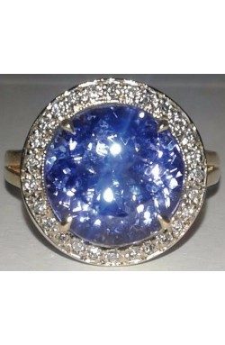 5.10TCW CERTIFIED ROUND FLAWLESS TANZANITE & DIAMOND TWO TONED 18K GOLD RING!