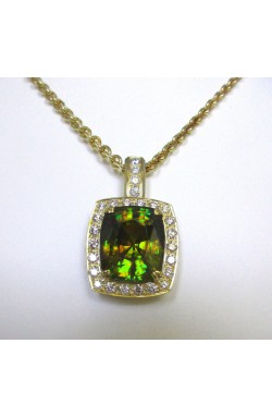 CERTIFIED 41.19 TCW UNHEATED NATURAL GREEN SPHENE/TITANITE AND DIAMOND PENDANT!