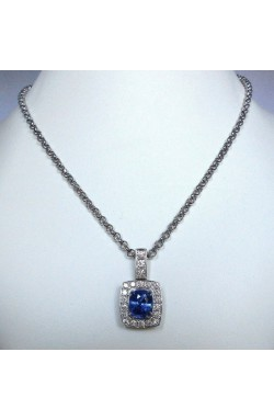 CERTIFIED 7.97CTS UNHEATED NATURAL CORNFLOWER BLUE SAPPHIRE AND DIAMOND PENDANT!