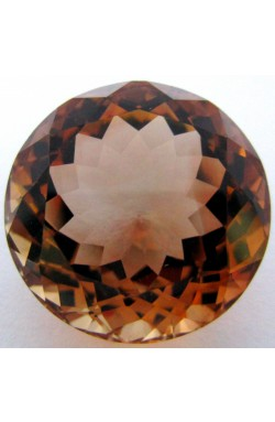 24.92 CTS ROUND SHAPE VVS UNHEATED UNTREATED NATURAL CHAMPAGNE TOPAZ!